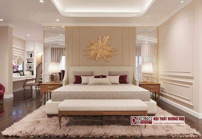 Thiết kế phòng ngủ tân cổ điển có bàn làm việc tiện nghi