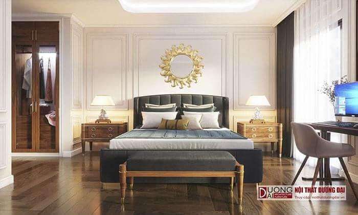 Thiết kế phòng ngủ Master với nội thất màu xanh trầm quyến rũ