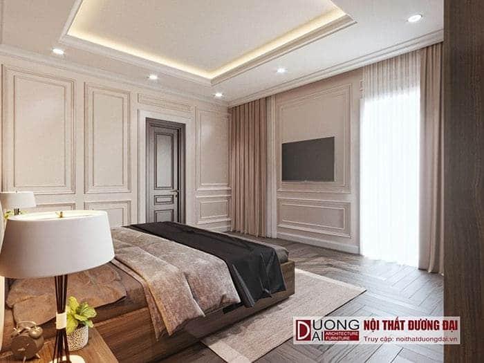 Phòng ngủ ông bà với thiết kế nhàng trong căn biệt thự