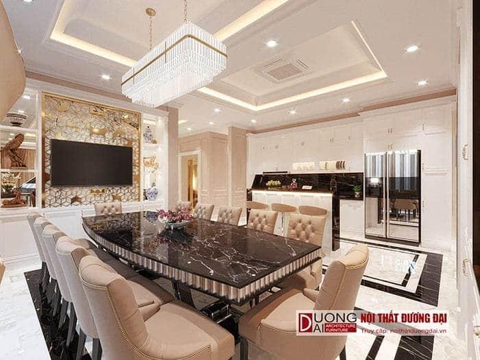 Thiết kế tủ bếp tân cổ điển màu trắng trang nhã và bộ bàn ghế ăn đầy xa hoa