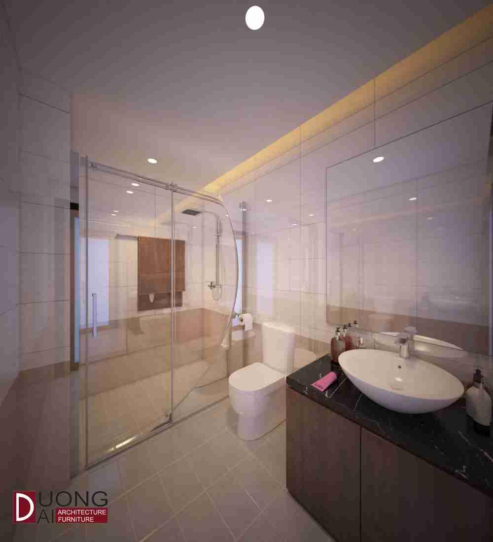 Nhà tắm với vách kính