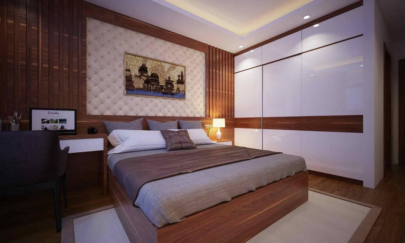 Thiết kế tủ cánh trượt làm từ gỗ MDF phủ Acrylic sang trọng