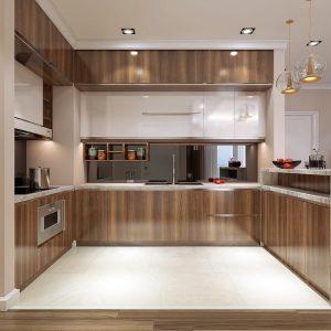 Tủ bếp chữ L - Vân gỗ tự nhiên - Tủ bếp chữ L đẹp