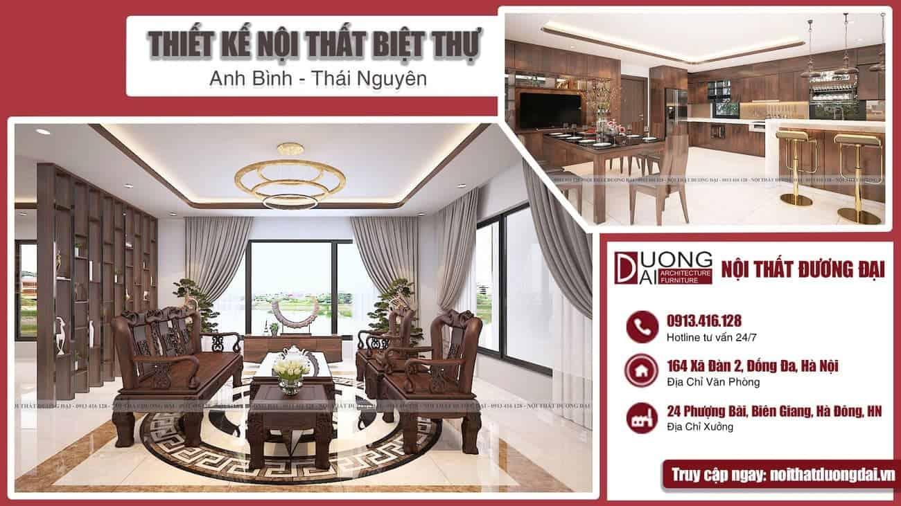 Thể hiện đẳng cấp với mẫu thiết kế nội thất biệt thự tại Thái Nguyên