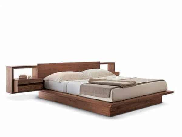 Giường Nhật gõ óc chó - 2 Tab đầu giường bên cạnh