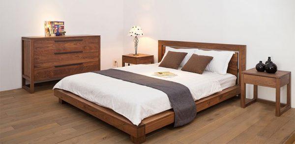 Giường ngủ gỗ óc chó đơn giản, tinh tế - Giá rẻ hợp lý