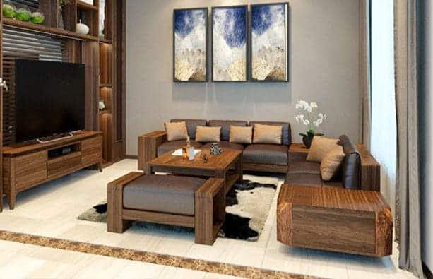 Mẫu sofa gỗ óc chó giá tốt nhất cho khách - Xem trực tiếp thi công
