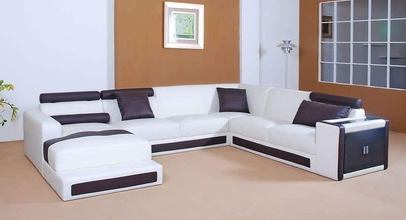 Sofa da chữ L - Đen Trắng - Sofa da giá rẻ cho phòng khách