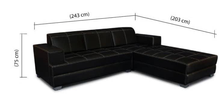 Sofa da chữ L màu đen - Kích thước 2m4 - Sofa giá rẻ tại Hà Nội