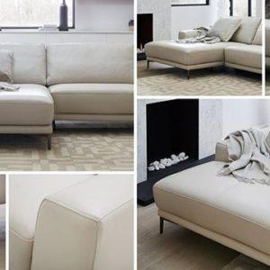 Sofa da chữ L màu trắng giá rẻ có đệm mút tạo sự thoải mái