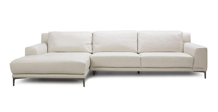 Sofa da chữ L màu trắng - Giá rẻ - Có đệm mút tạo sự thoải mái