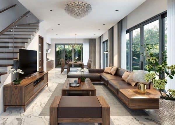 Sofa gỗ óc chó Hà Nội giá rẻ - Hiện đại - Vân gỗ đều và đẹp
