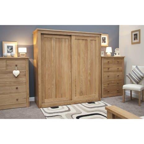 Tủ quần áo cửa lùa 2 khoang gỗ sồi giá rẻ