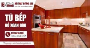 Tủ bếp gỗ xoan đào cho nhà bếp thêm sang trọng, ấm cúng