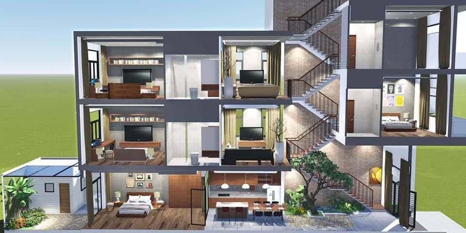 Mê mẩn với phong cách thiết kế nhà phố lệch tầng