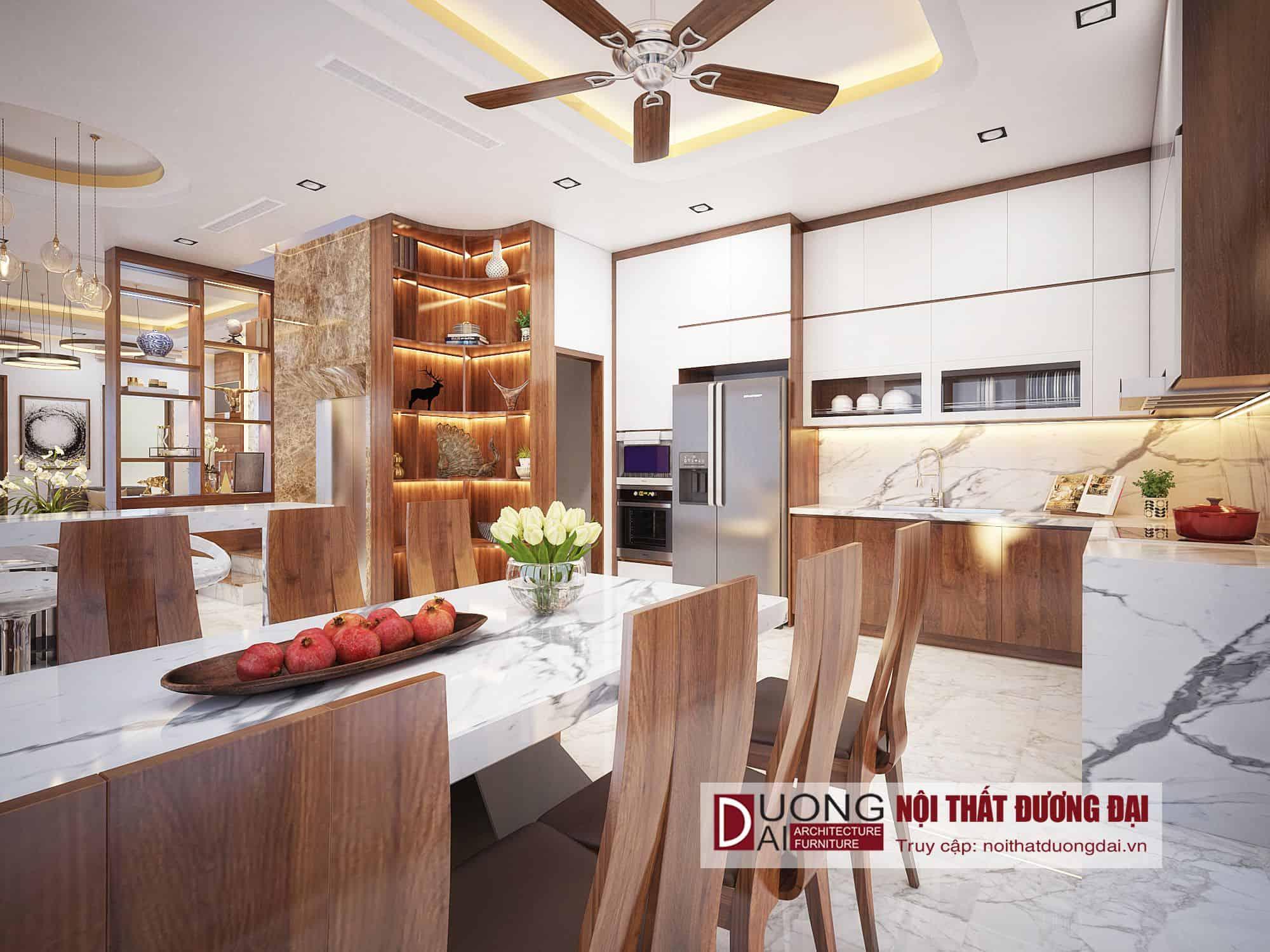 Thiết kế và thi công nội thất biệt thự gỗ công nghiệp