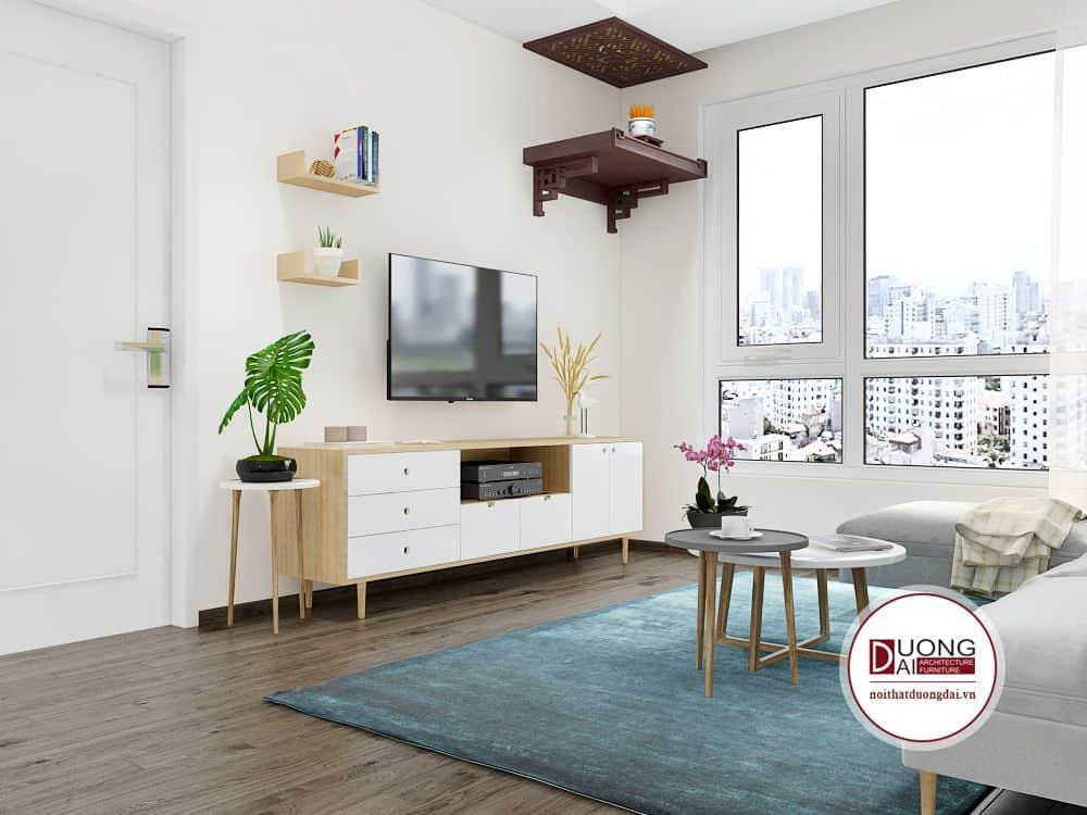 Phong cách tối giản, nhẹ nhàng với mẫu kệ tivi nhà anh Hải - Riverside Garden.