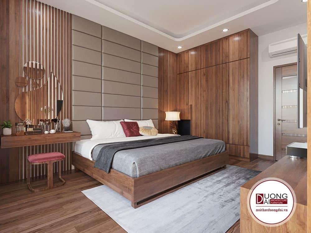Tông màu của phòng ngủ sử dụng màu Nâu làm chủ đạo