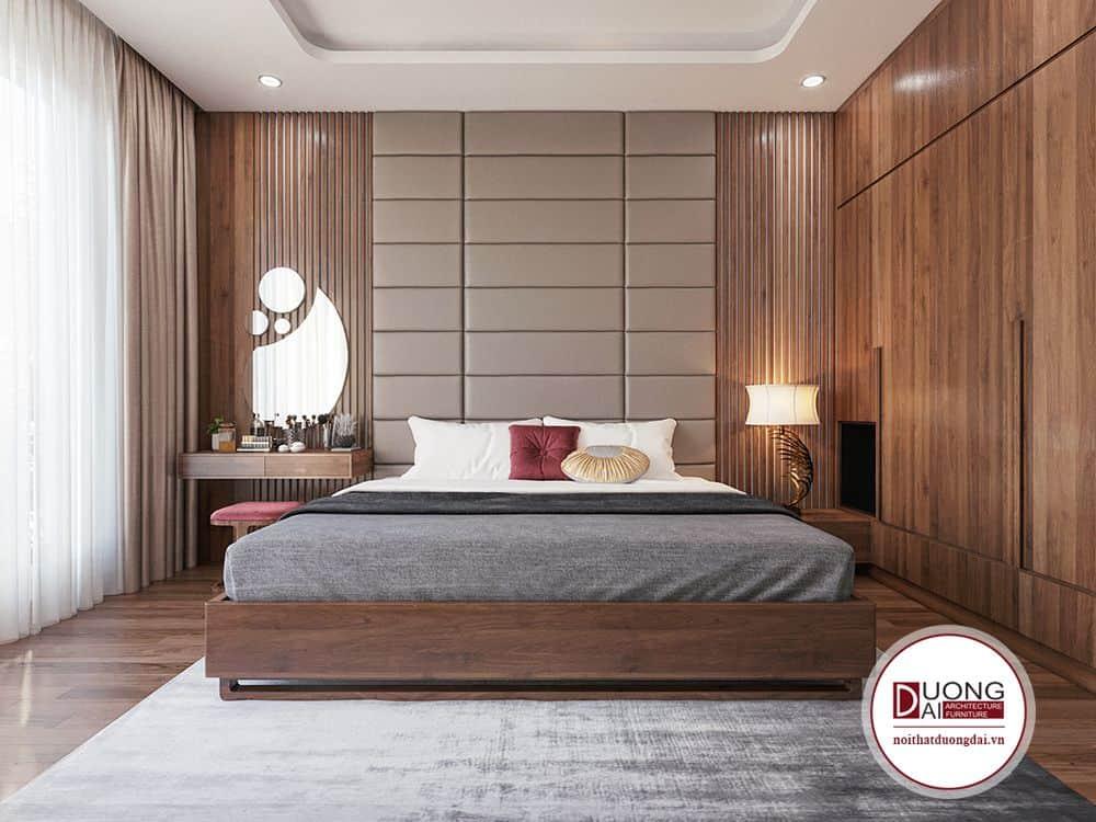 Không gian thứ nhất gồm có giường ngủ, các hệ vách ốp gỗ và nỉ, kết hợp tab đầu giường và tủ áo.