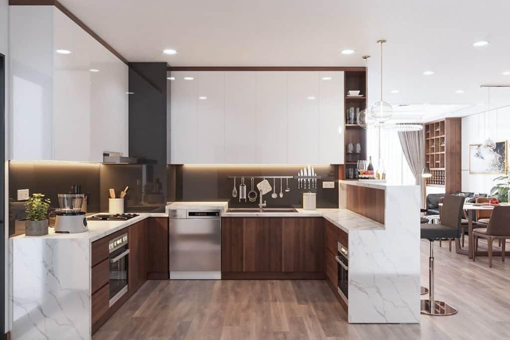 Phòng bếp mẫu thiết kế nội thất chung cư Bohemia Residence.