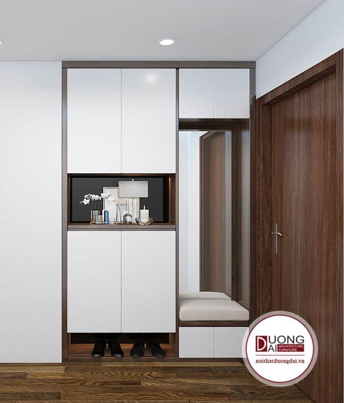 Mẫu tủ kết hợp ghế ngồi và gương nhà chị Tuyết - chung cư 360 Giải Phóng.