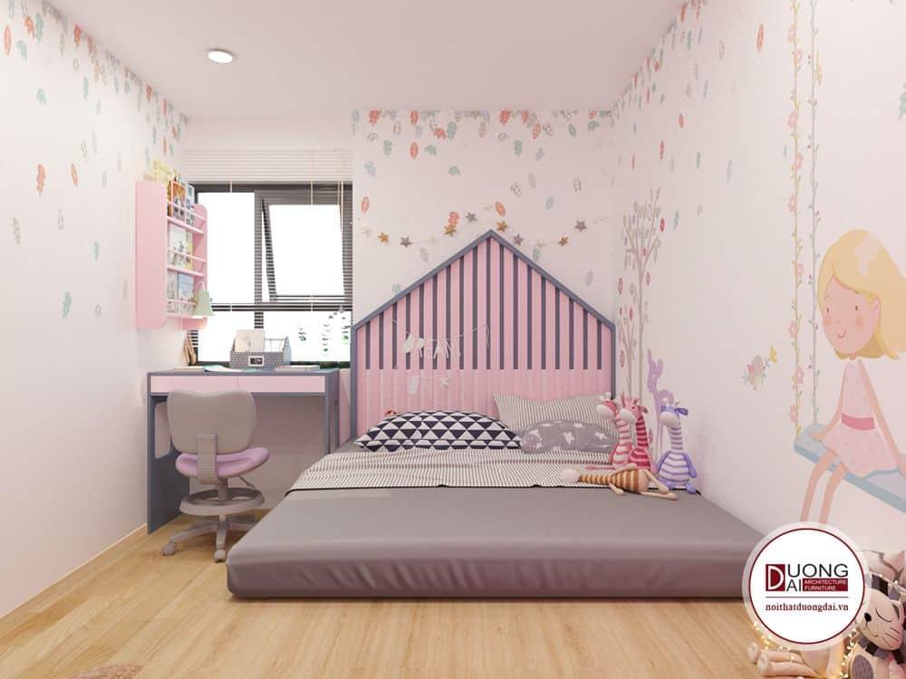 Các mẫu thiết kế cho bé ở giai đoạn này không nên quá cầu kì, cần tạo được nhiều không gian.