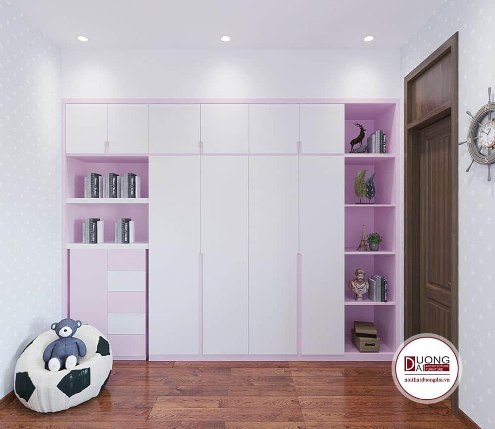 Thiết kế tủ quần áo màu hồng xinh xắn cho bé gái