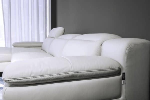 Sofa Da Màu Trắng Sofa Da Góc Chữ L Hiện Đại, Chất Liệu Cao Cấp