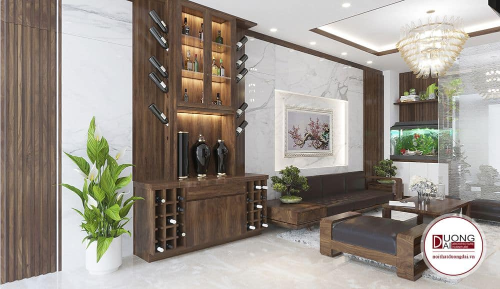 Phòng khách sofa gỗ tự nhiên