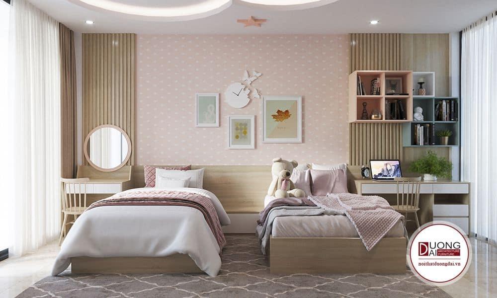 Phòng ngủ thơ mộng và nữ tính cho 2 bé nhà anh Hùng.