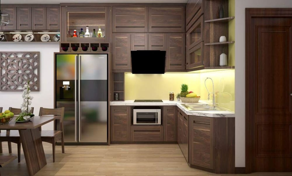 Thiết kế tủ bếp chữ L từ gỗ sồi với màu sắc quyến rũ
