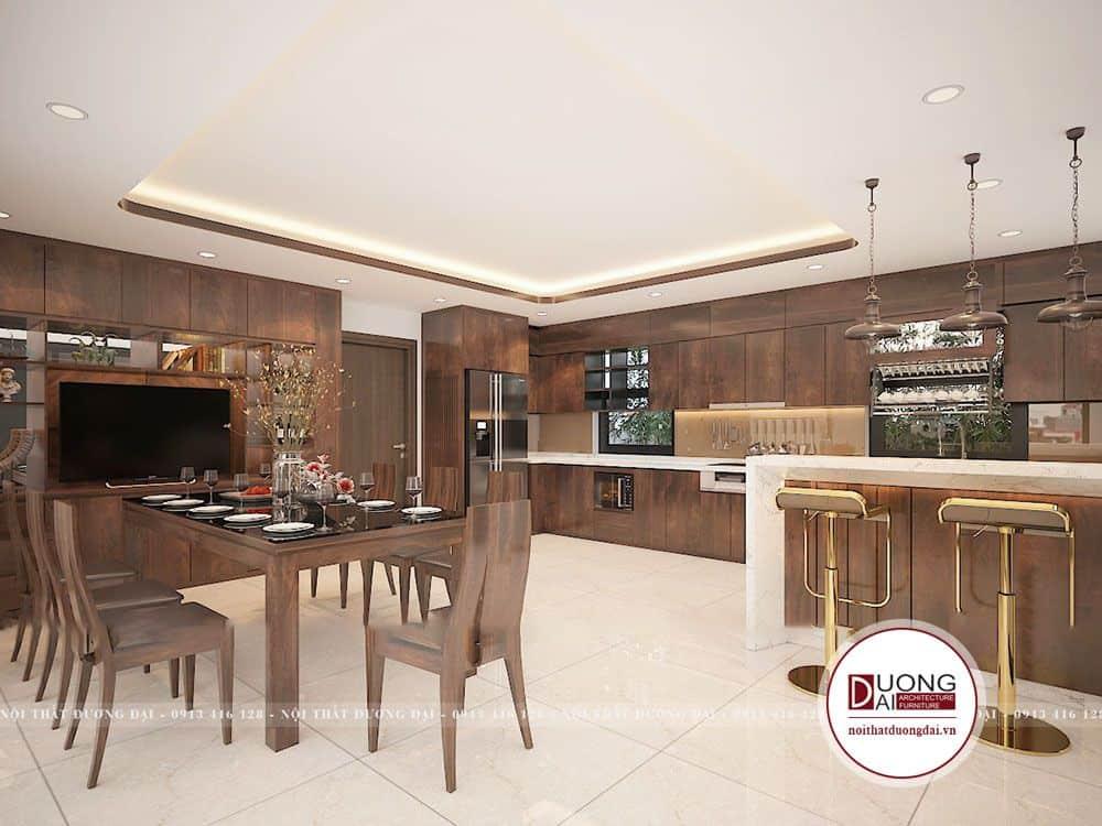 Tủ bếp gỗ Walnut với kiểu dáng hiện đại, màu sắc ấn tượng