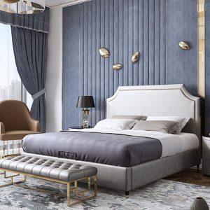 Giường ngủ bọc da hiện đại có thiết kế độc đáo, đa dạng màu sắc cho khách hàng lựa chọn. Sản phẩm được bán trực tuyến tại Nội Thất Đương Đại.