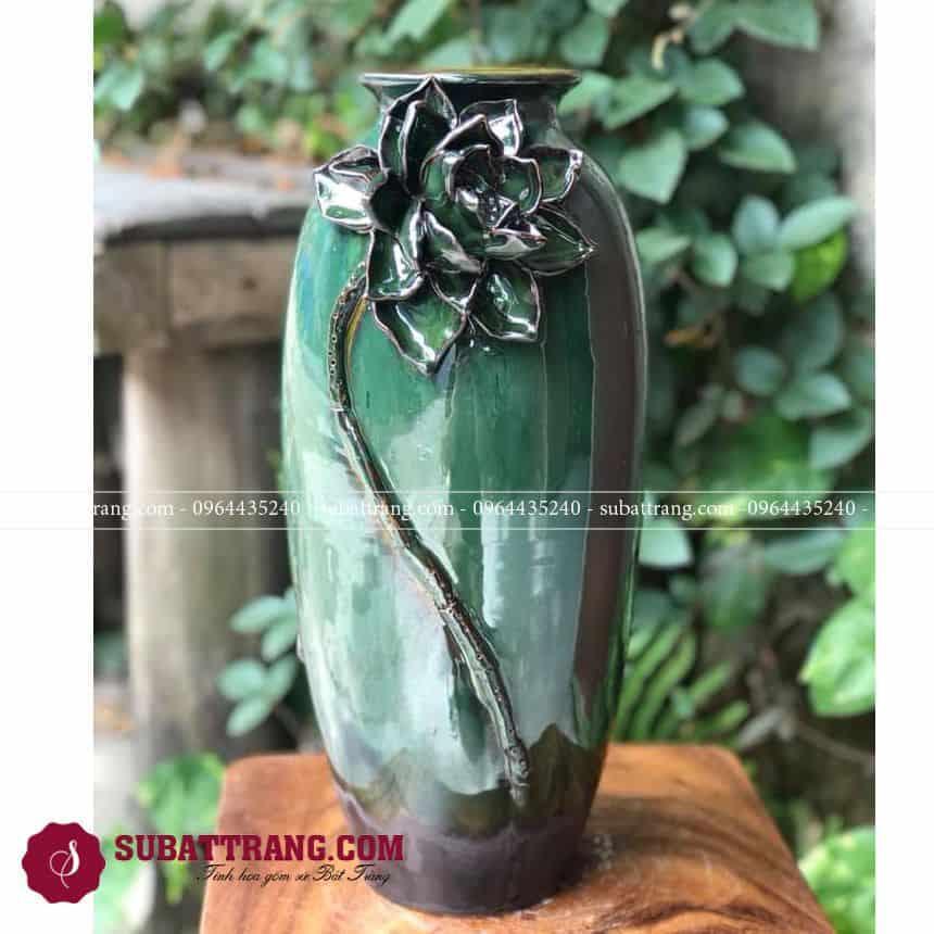 Lọ Hoa Gốm Sứ Đẹp Bát Tràng Dáng Bom Đắp Hoa Nổi