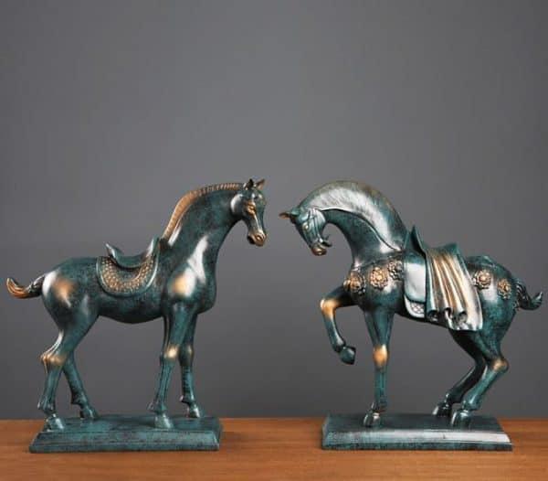 Ngựa Trang Trí Đẹp Màu Xanh Dương, Đôi Ngựa Chất Liệu Cao Cấp |Nội Thất Đương Đại