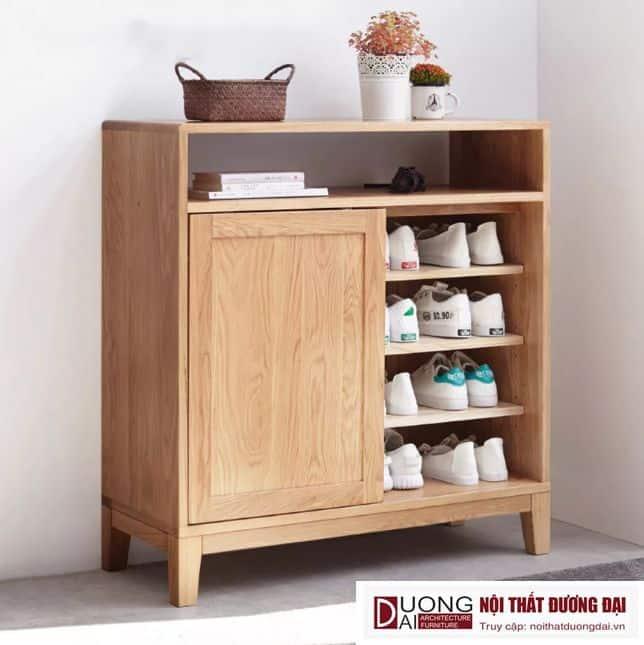 Tủ Giày Gỗ Sồi Tự Nhiên Thiết Kế Đẹp Hiện Đại GHS-5713