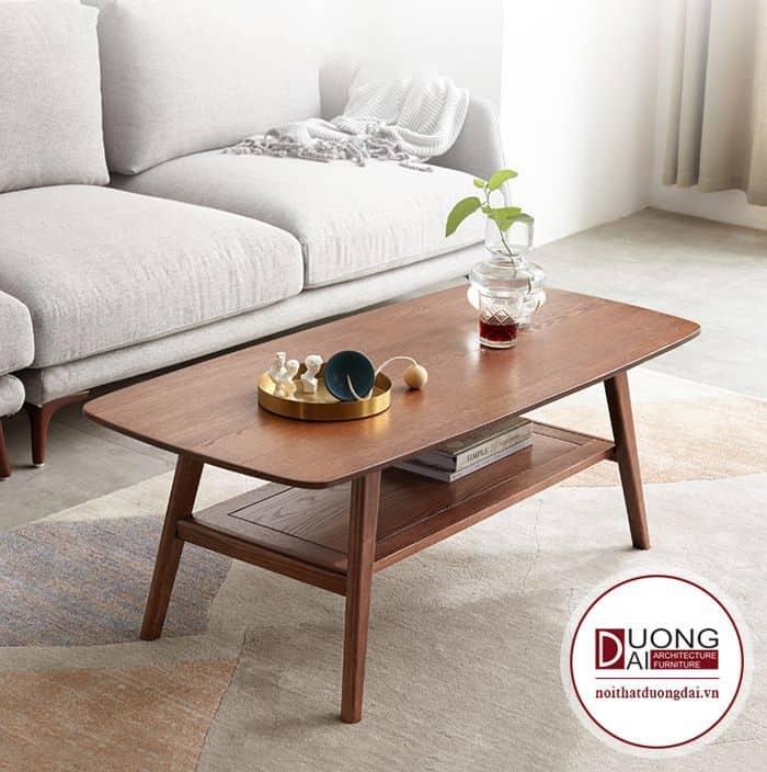Bàn chữ nhật gỗ óc chó đơn giản mà tinh tế cho phòng khách nhỏ