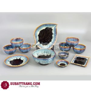 Bộ Đồ Ăn Men Sóng Biển Xanh - SBT60062