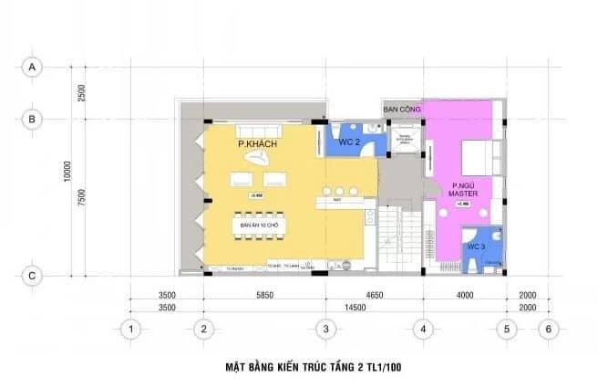 Mặt bằng bố trí kiến trúc tầng 2.