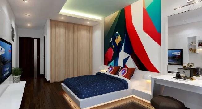 Phòng con trai với điểm nhấn màu sắc cá tính, hiện đại.