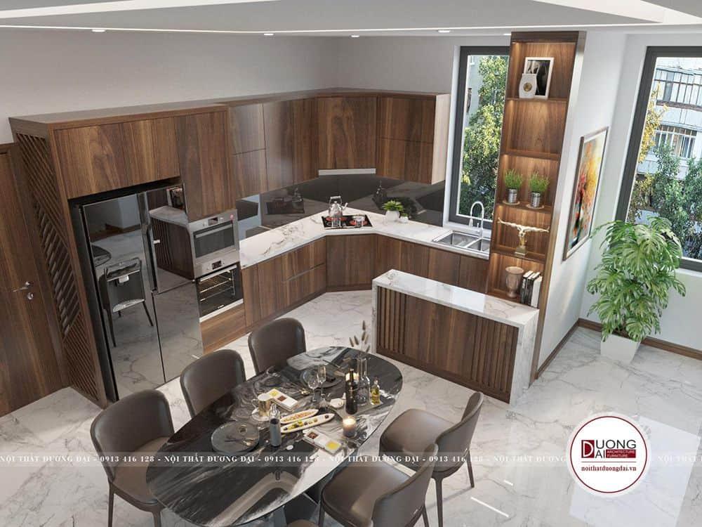Tủ bếp Laminate đẹp với phong cách hiện đại