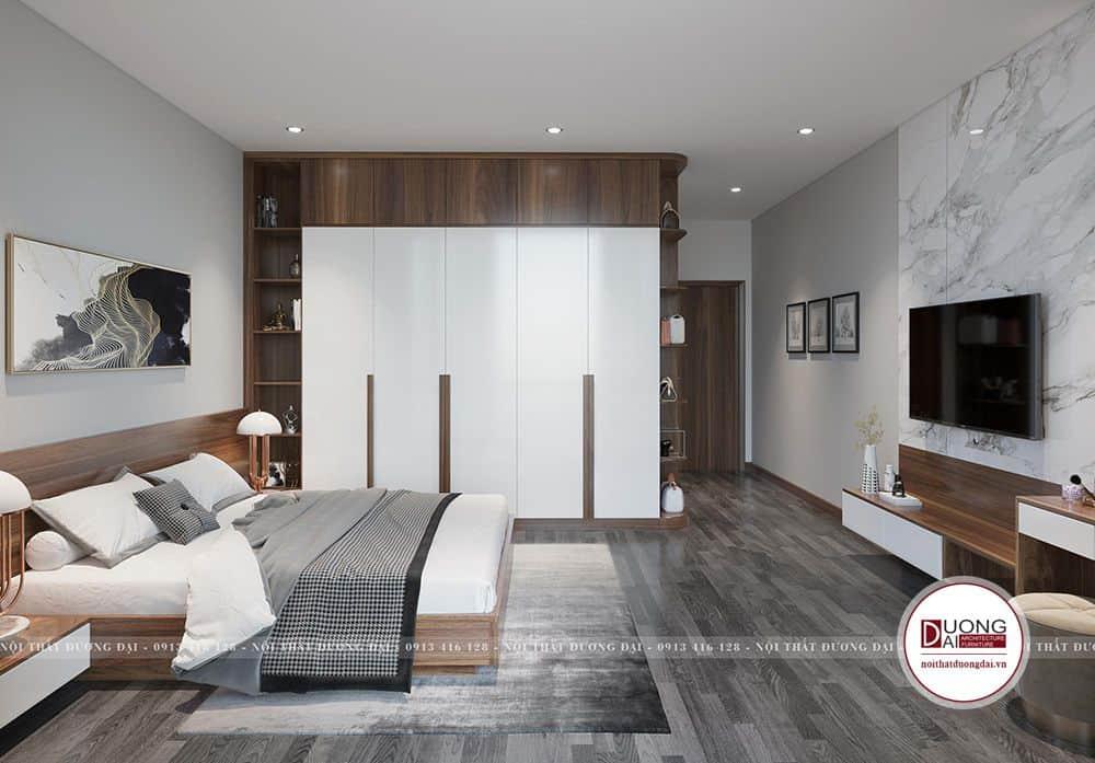 Mẫu tủ sang trọng với thiết kế màu trắng và nâu gỗ
