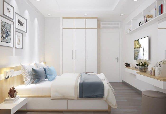 Phòng ngủ hiện đại tiện nghi với tông màu trắng chủ đạo.Phòng ngủ hiện đại tiện nghi với tông màu trắng chủ đạo.