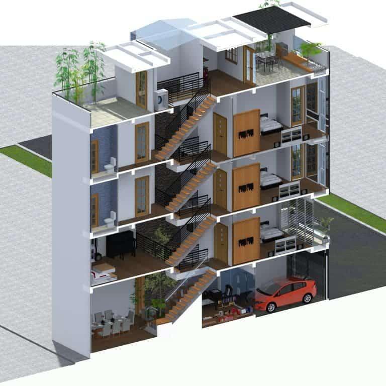 Nhà lệch tầng 4x12 với cách bài trí nội thất thông minh