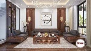Nội thất phòng khách nhà ống hiện đại nhà chị Hương
