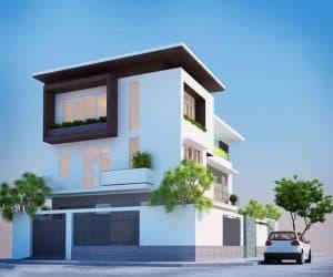 Mẫu thiết kế nhà 2 tầng lệch 01
