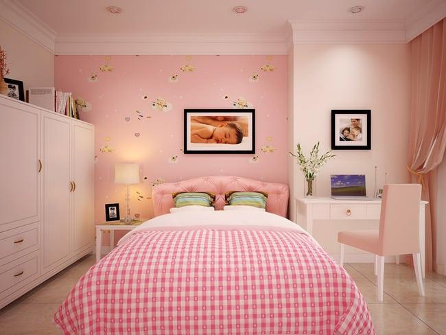 Phòng ngủ màu hồng đáng yêu của các con
