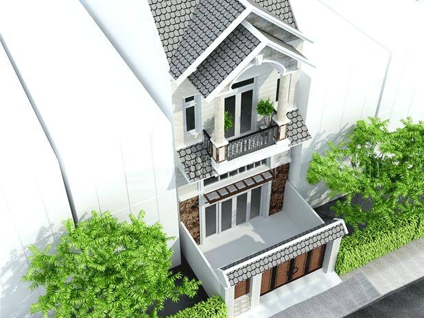 Phối cảnh nhìn từ trên cao xuống nhà 2 tầng mái thái