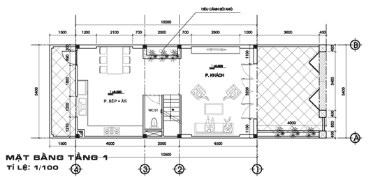 Nhà Ống 2 Tầng Có Gác Lửng mặt bằng tầng 1