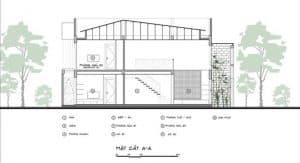 Mặt cắt thiết kế 2 tầng 70m2